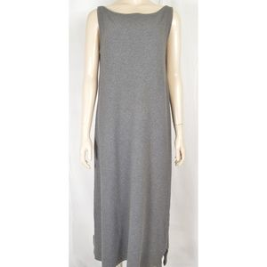 Eileen Fisher dress SZ M gray long maxi 100% cotto